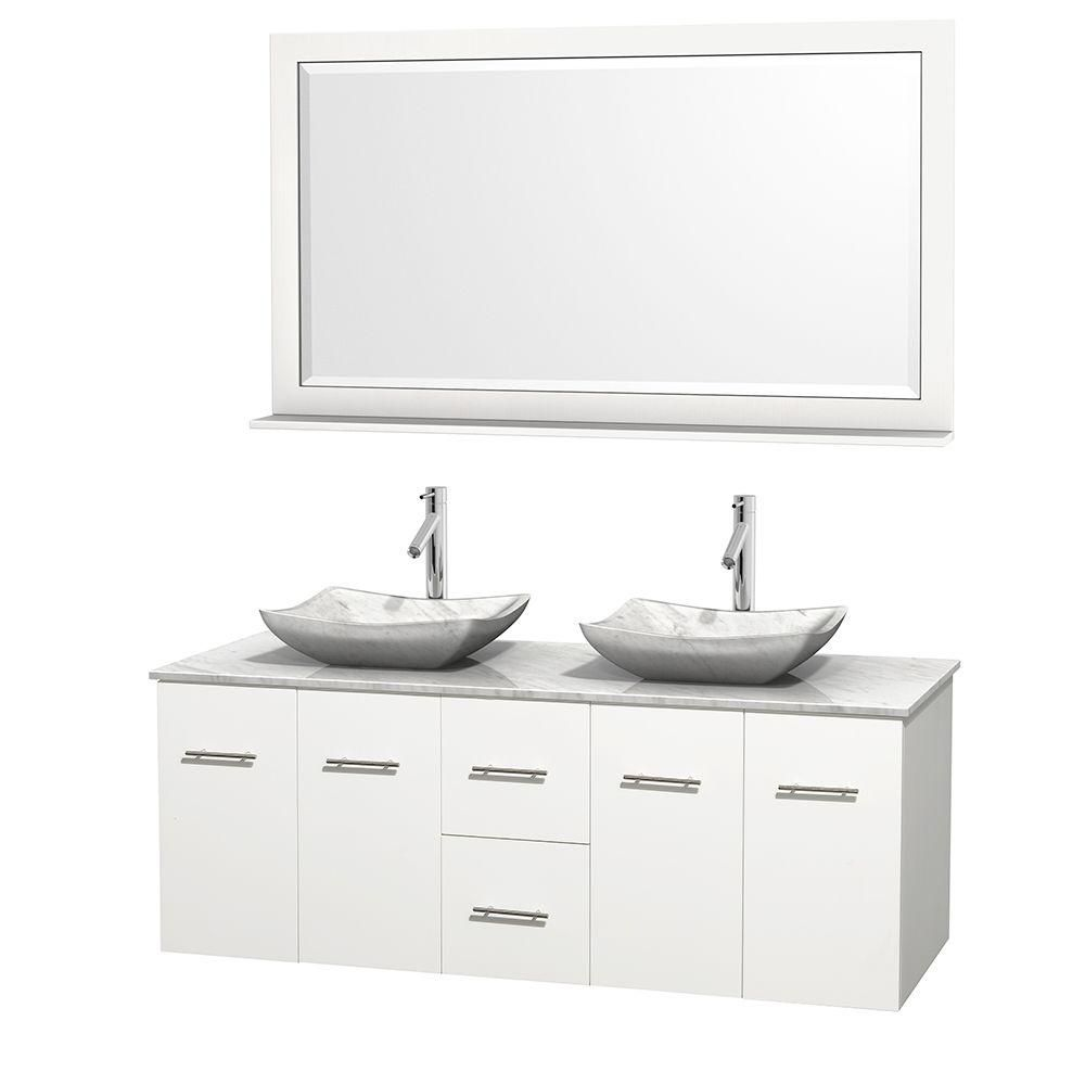 Centra 60-inch W Double Vanity in White with White Top with White Basins and Mirror