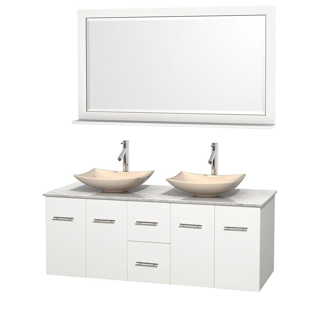 Centra 60-inch W Double Vanity in White with White Top with Ivory Basins and Mirror