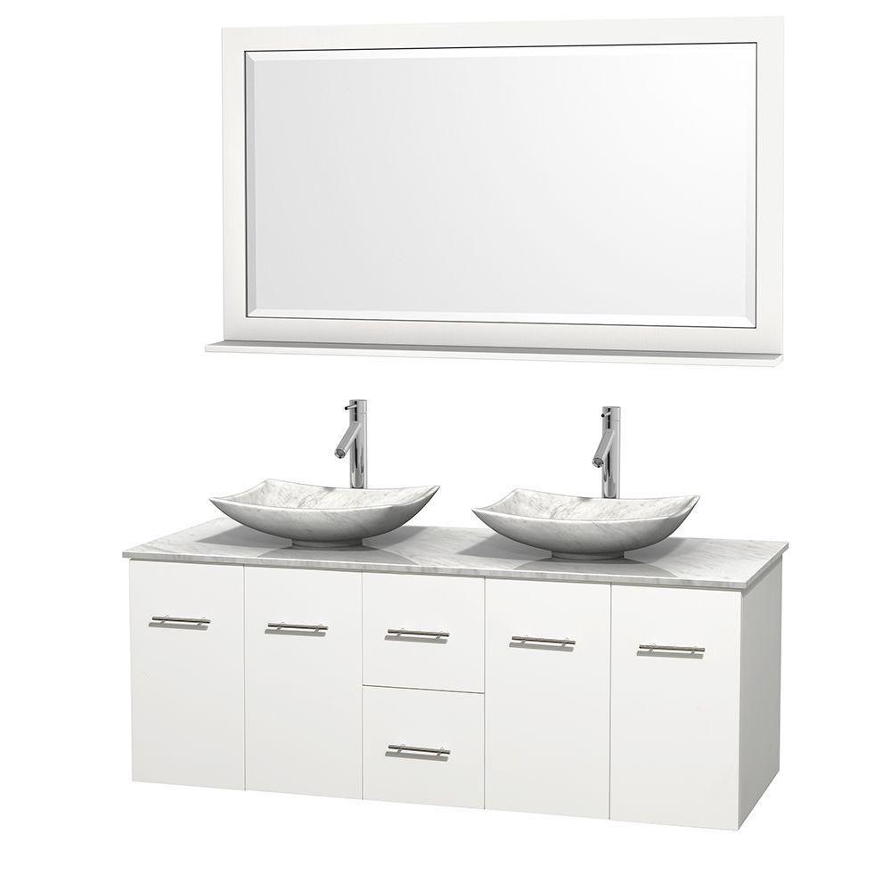 Meuble double Centra 60 po. blanc, comptoir blanc Carrare, lavabos blanc Carrare, miroir 58 po.