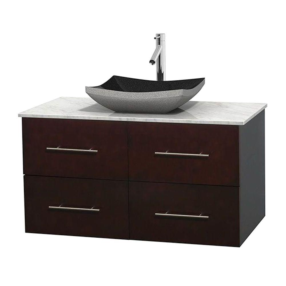 Centra 42-inch W Vanity in Espresso with White Top with Black Basin