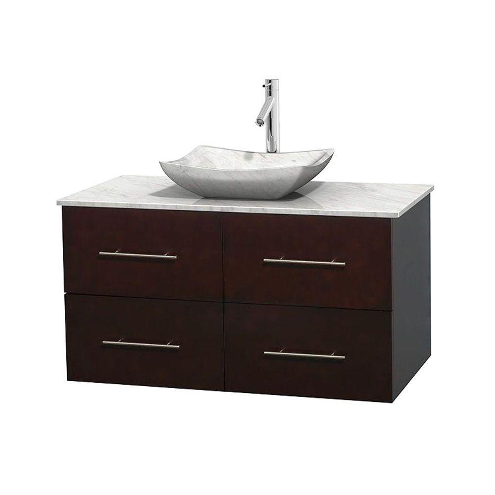 Meuble simple Centra 42 po. espresso, comptoir blanc Carrare, lavabo blanc Carrare, sans miroir