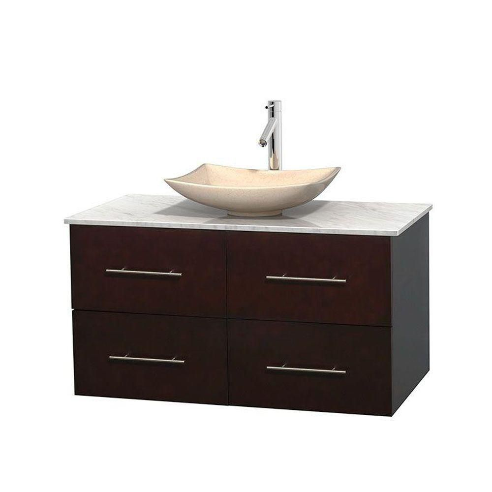 Centra 42-inch W 2-Drawer 2-Door Wall Mounted Vanity in Brown With Marble Top in White