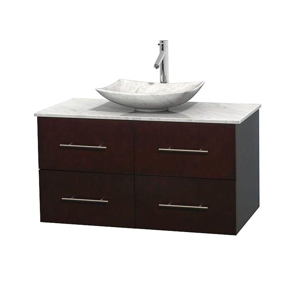 Centra 42-inch W Vanity in Espresso with White Top with White Basin