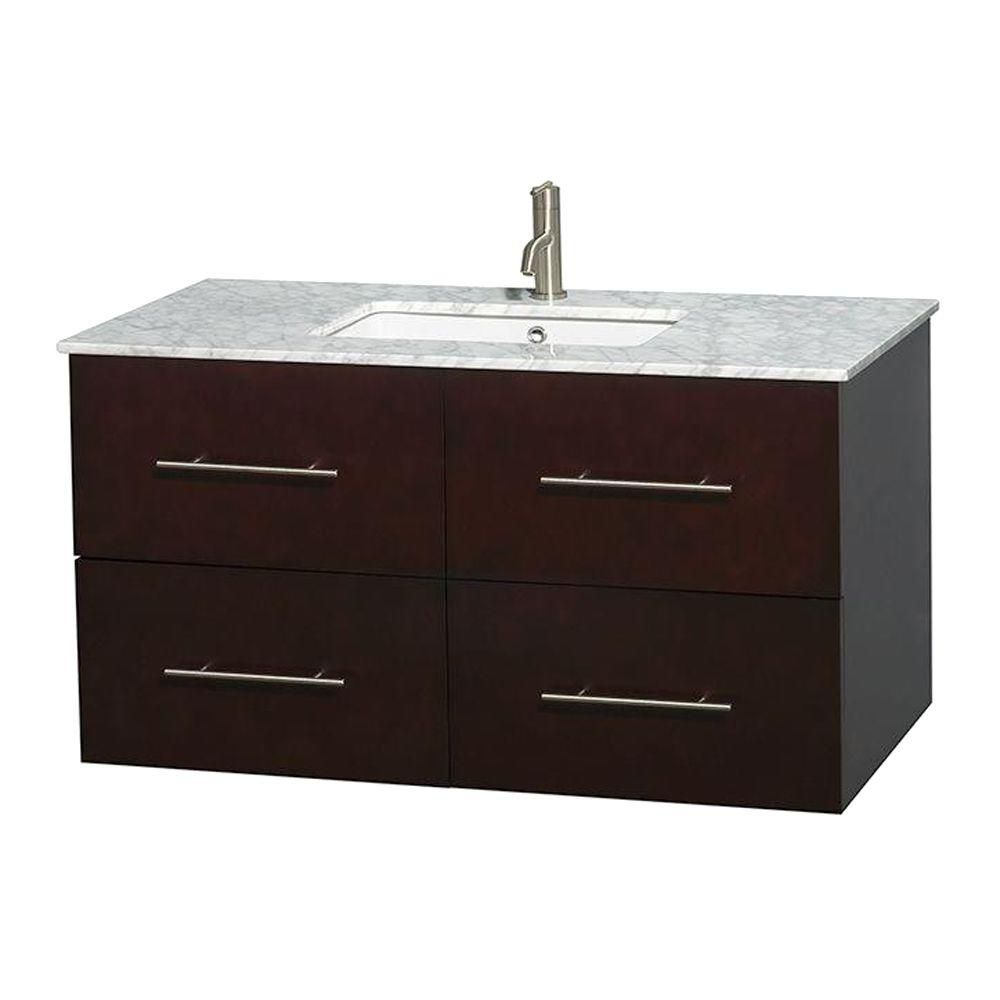 Centra 42-inch W Vanity in Espresso with Top in Carrara White and Square Sink