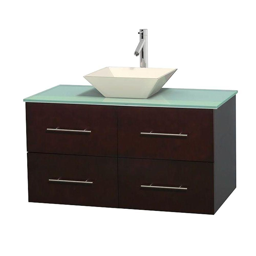 Centra 42-inch W Vanity in Espresso with Glass Top with Bone Basin