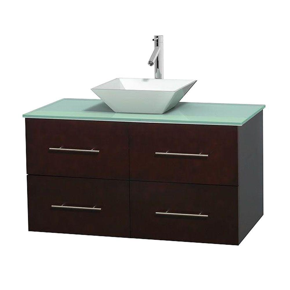 Meuble unique Centra 42 po. espresso, comptoir verre vert, lavabo porcelaine blanche sans miroir