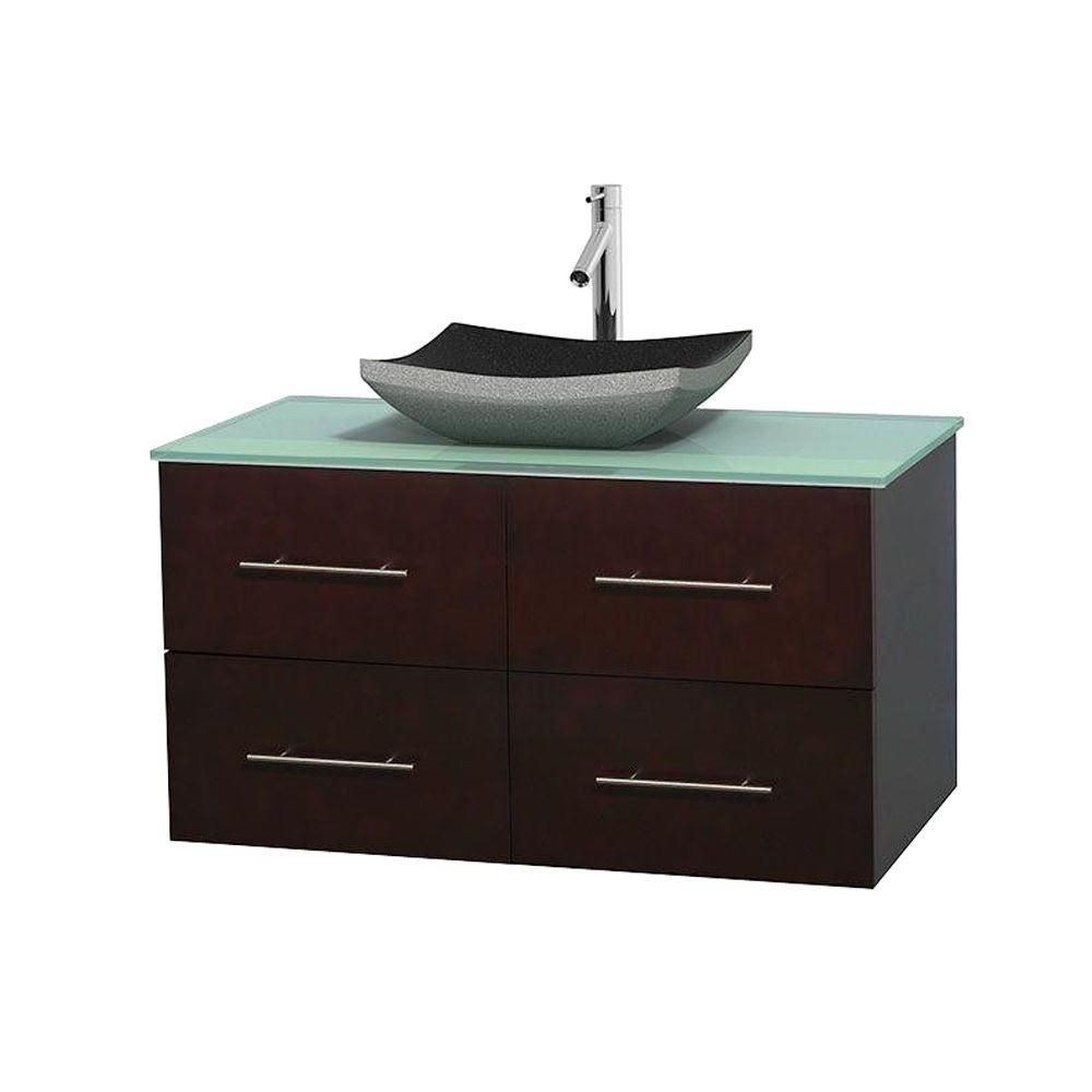 Centra 42-inch W Vanity in Espresso with Glass Top with Black Basin
