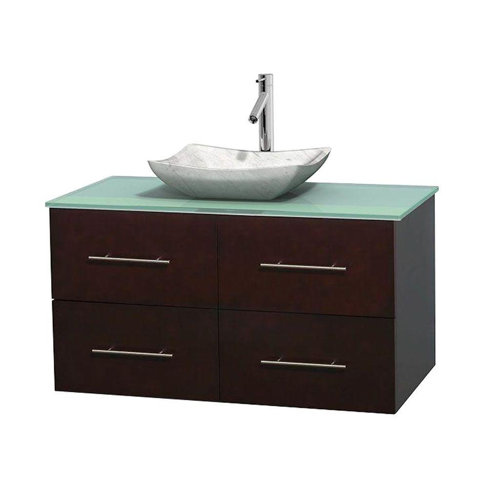 Meuble simple Centra 42 po. espresso, comptoir verre vert, lavabo blanc Carrare, sans miroir