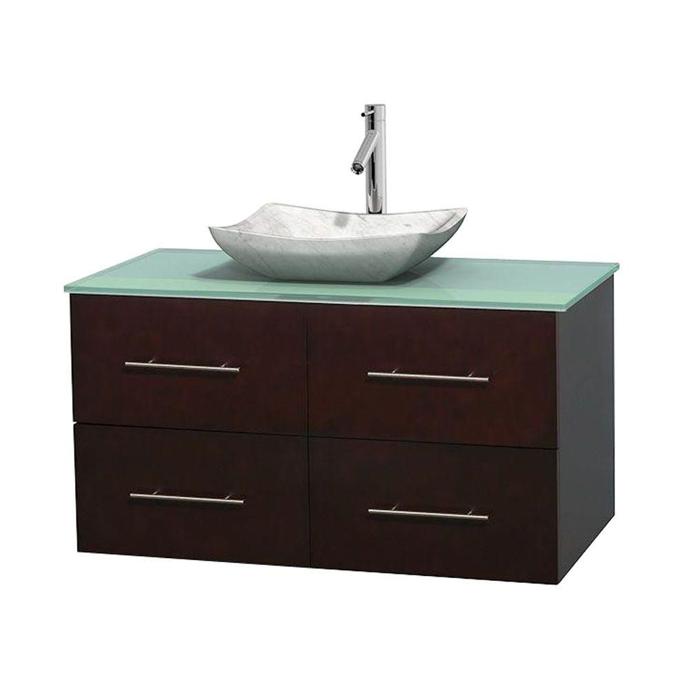 Centra 42-inch W Vanity in Espresso with Glass Top with White Basin