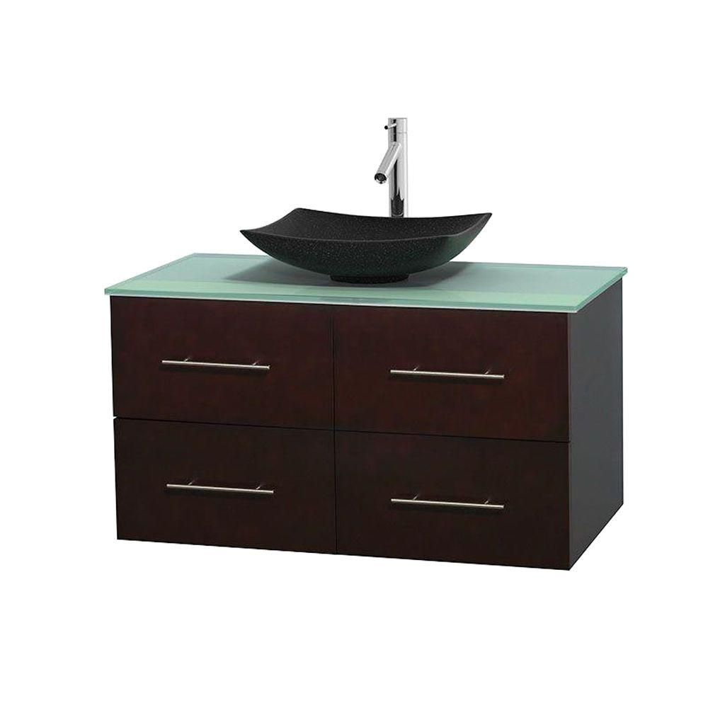 Centra 42 In. Single Vanity in Espresso with Green Glass Top with Black Granite Sink and No Mirror WCVW00942SESGGGS4MXX Canada Discount