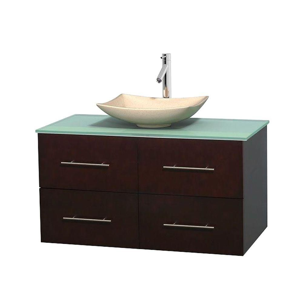 Centra 42-inch W Vanity in Espresso with Glass Top with Ivory Basin