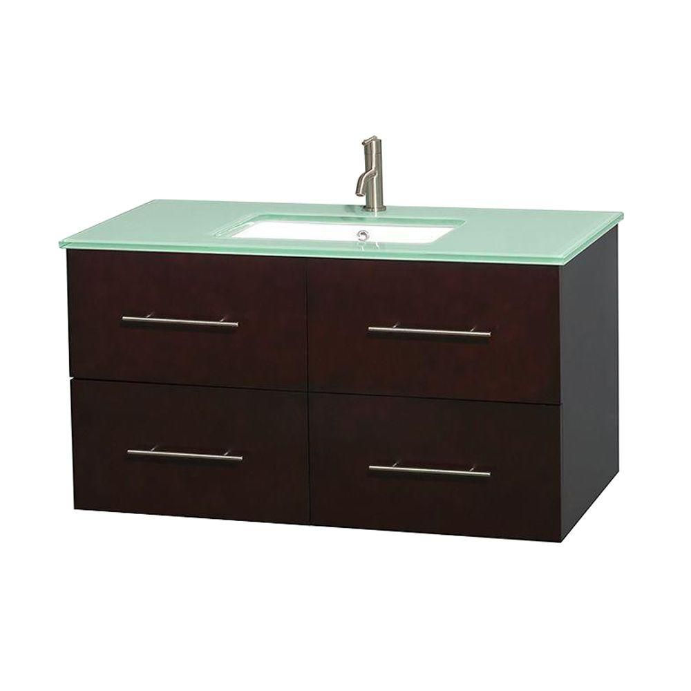 Centra 42-inch W Vanity in Espresso with Glass Top with Square Basin