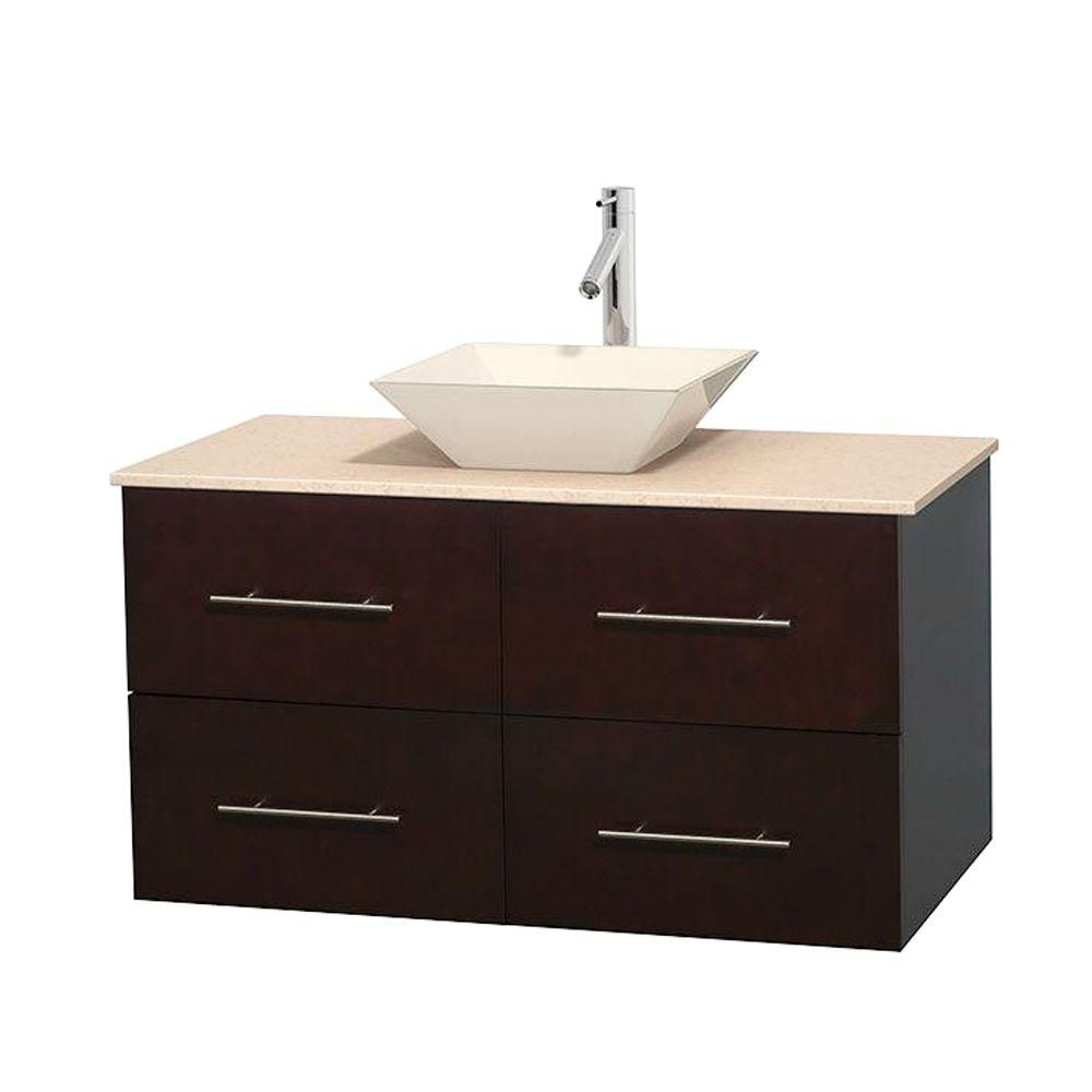 Centra 42-inch W Vanity in Espresso with Marble Top in Ivory with Bone Basin