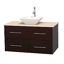 Wyndham Collection Centra 42-inch W 2-Drawer 2-Door Wall Mounted Vanity in Brown With Marble Top in Beige Tan