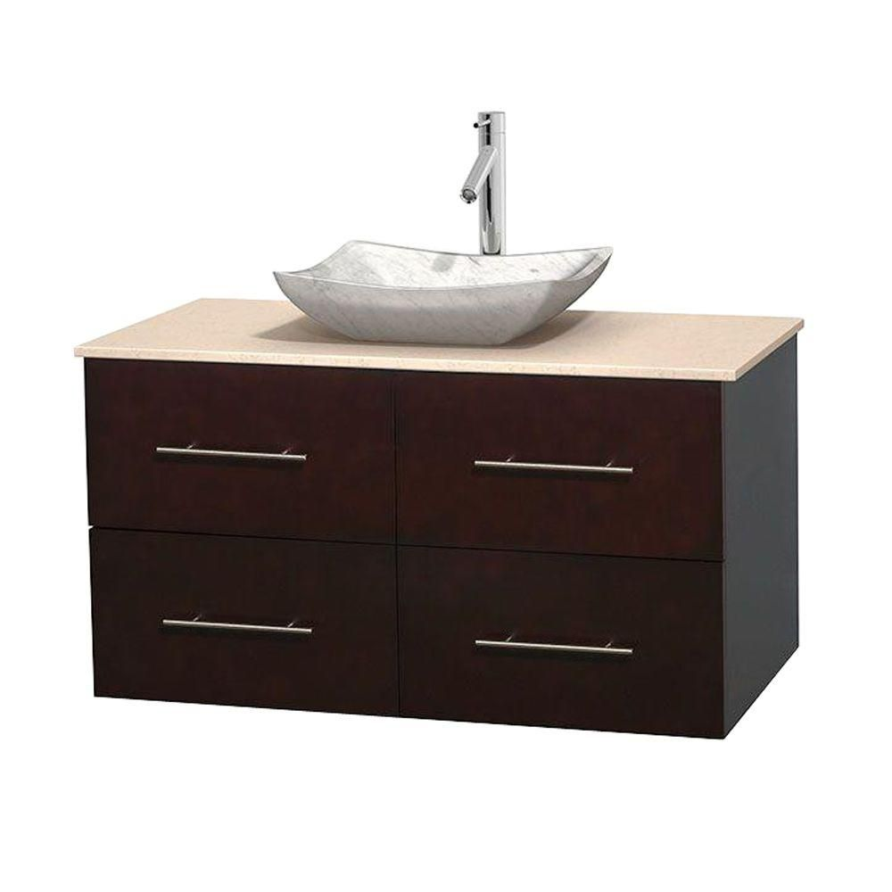 Meuble simple Centra 42 po. espresso, comptoir marbre ivoire, lavabo blanc Carrare, sans miroir