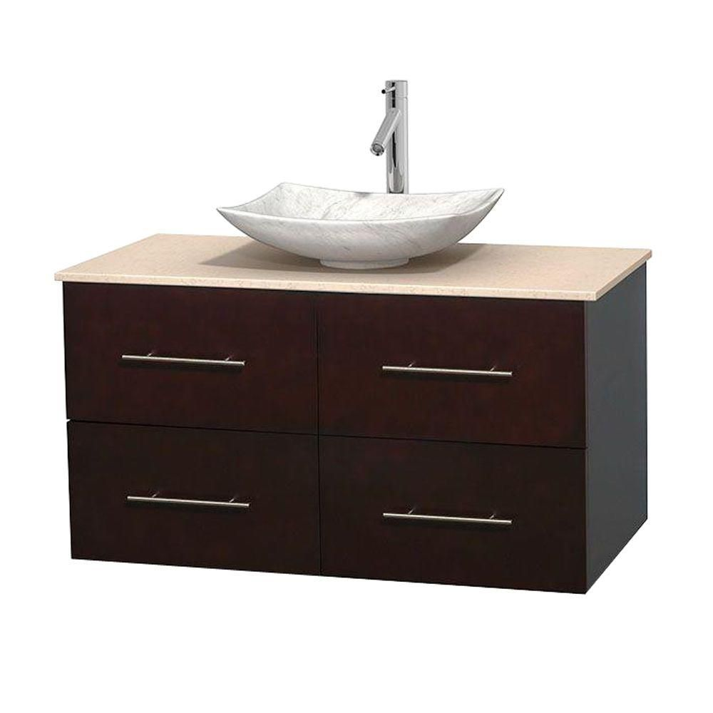 wyndham collection meuble simple centra 42 po espresso comptoir marbre ivoire lavabo blanc. Black Bedroom Furniture Sets. Home Design Ideas