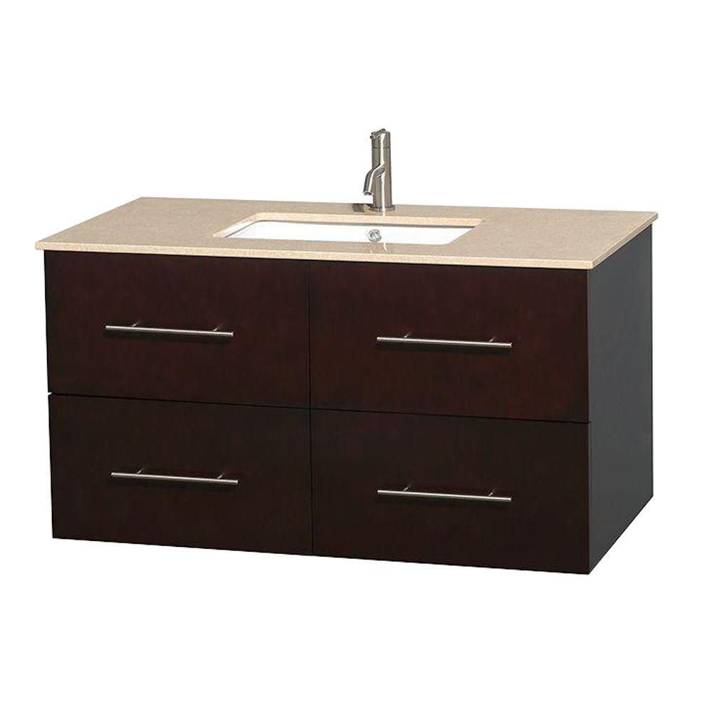 Centra 42-inch W Vanity in Espresso with Marble Top in Ivory with Square Basin
