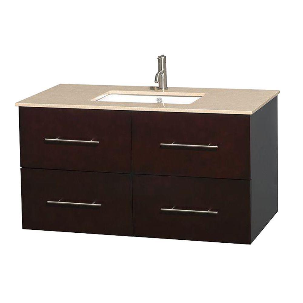 Meuble unique Centra 42 po. espresso, comptoir marbre ivoire, lavabo carré sans miroir