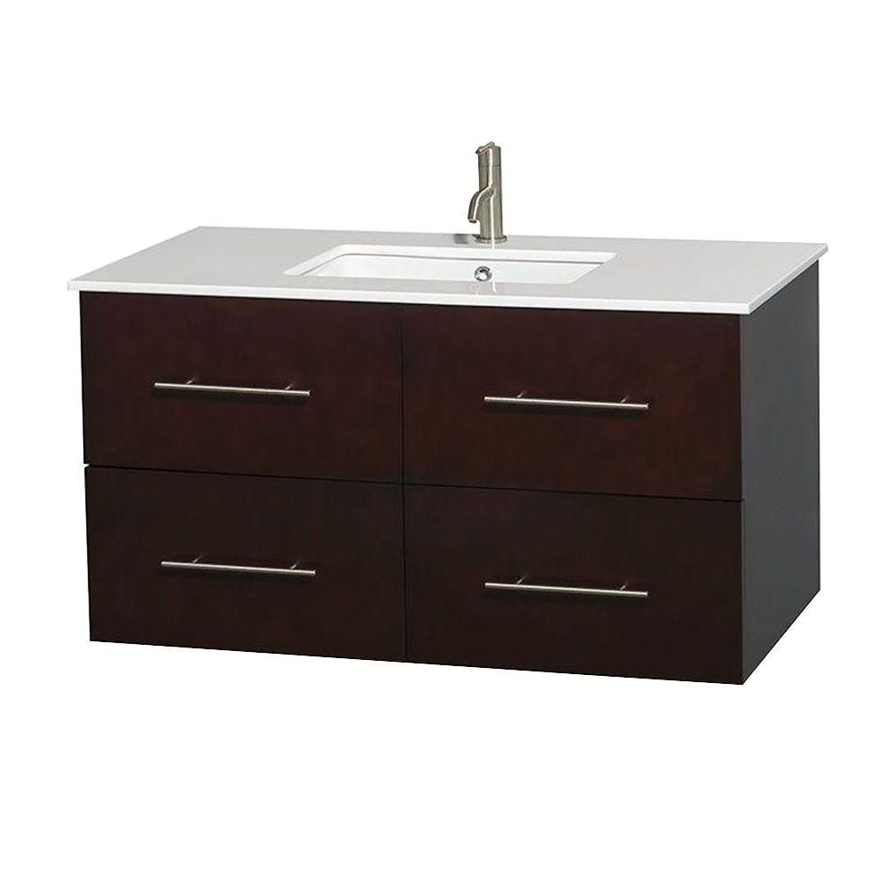 Centra 42-inch W Vanity in Espresso with Solid Top with Square Basin