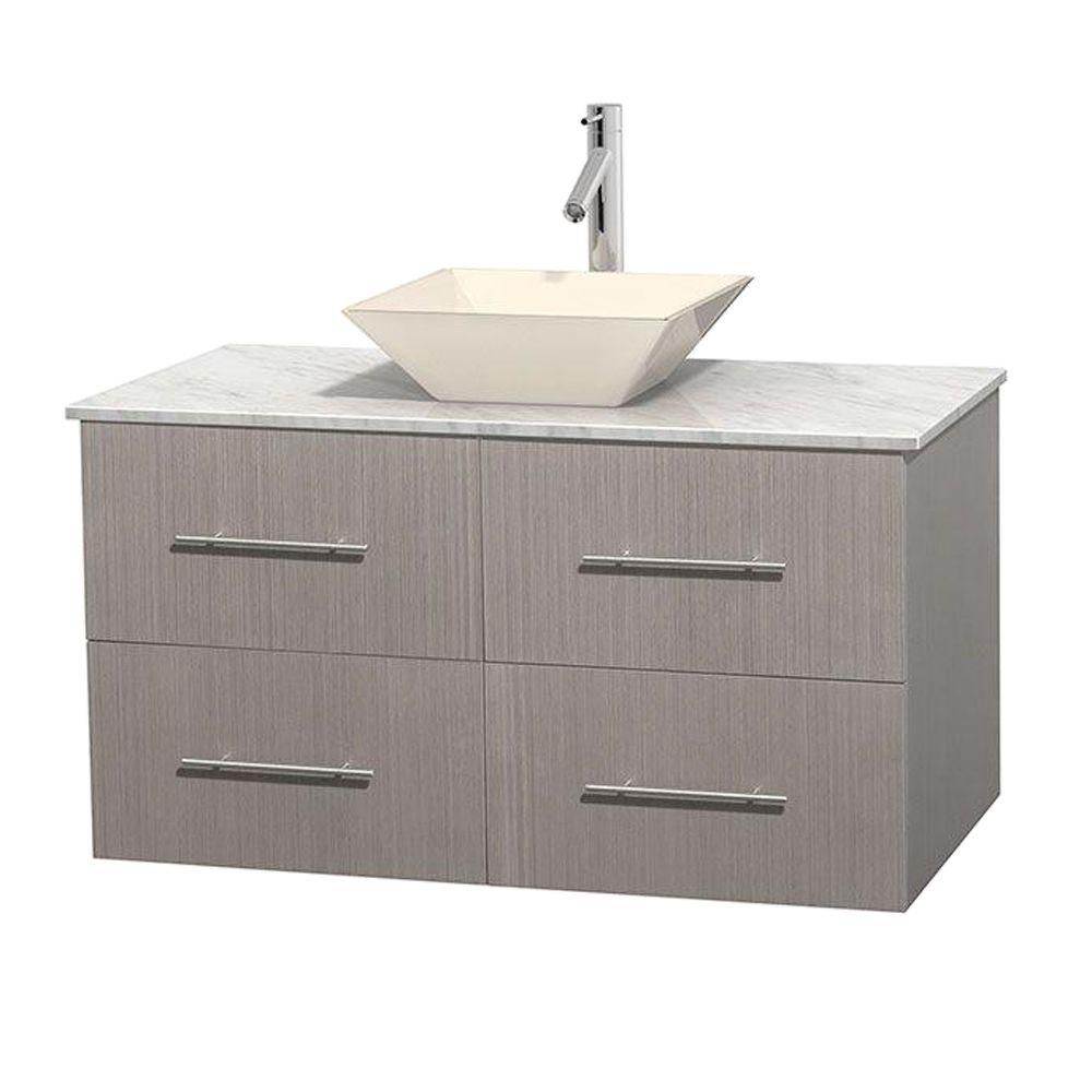 Meuble unique Centra 42 po. chêne gris, comptoir blanc Carrare, lavabo porcelaine bone sans miroi...