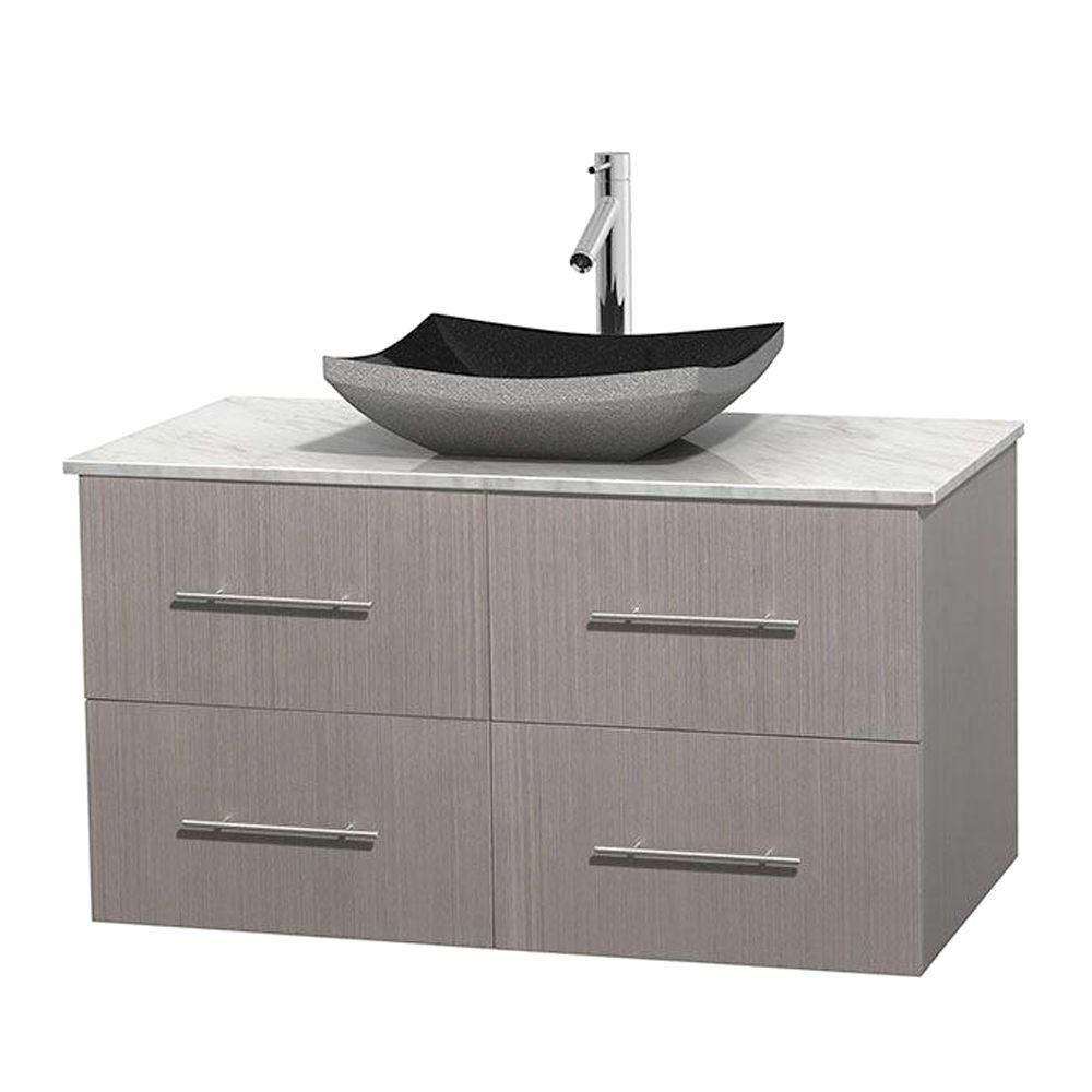Centra 42-inch W Vanity in Grey Oak with White Top with Black Basin