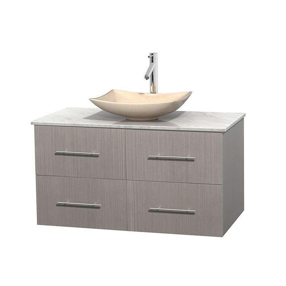 Centra 42-inch W Vanity in Grey Oak with White Top with Ivory Basin