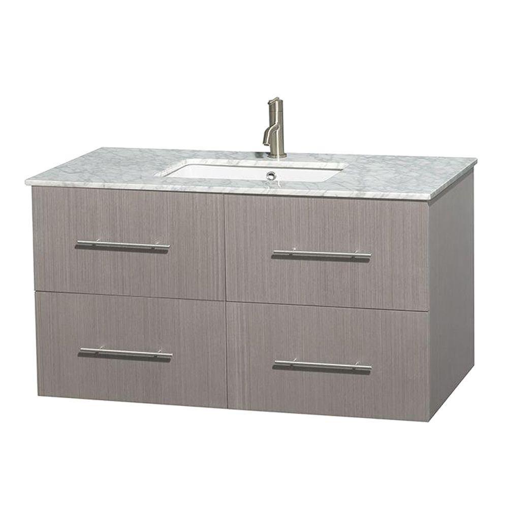 Meuble unique Centra 42 po. chêne gris, comptoir blanc Carrare, lavabo carré sans miroir