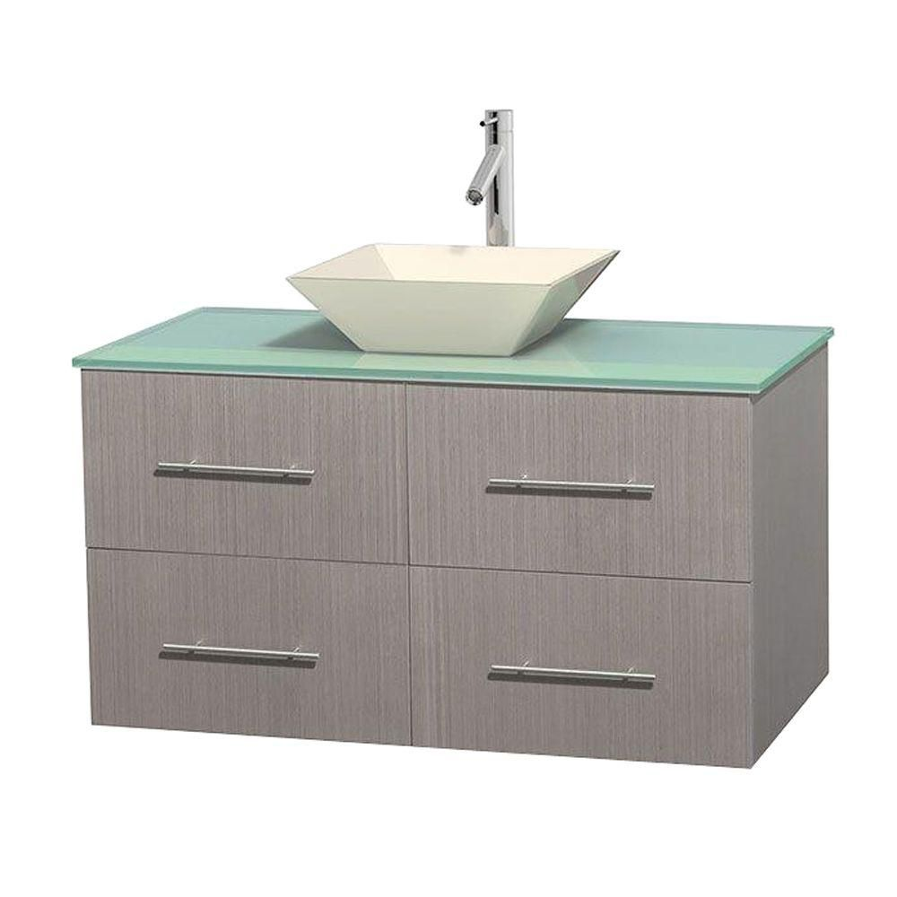Centra 42-inch W Vanity in Grey Oak with Glass Top with Bone Basin