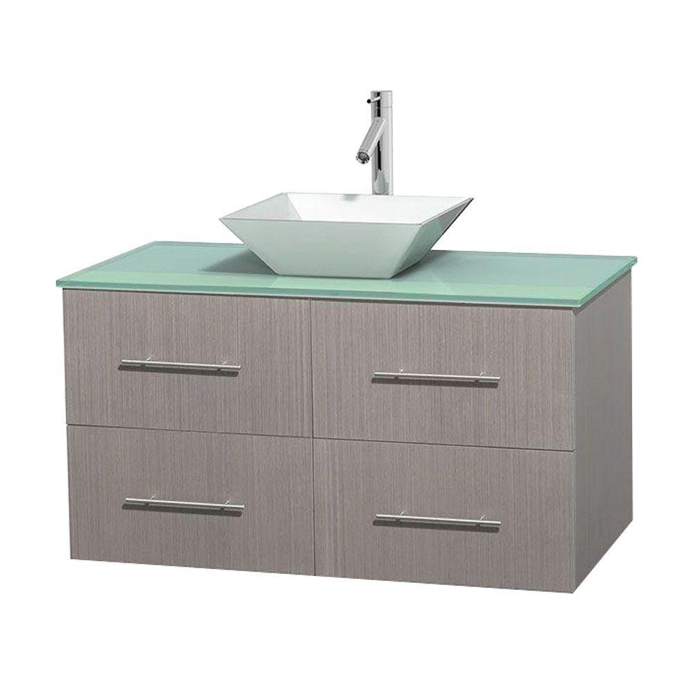 Meuble unique Centra 42 po. chêne gris, comptoir verre vert, lavabo porcelaine blanche sans miroi...