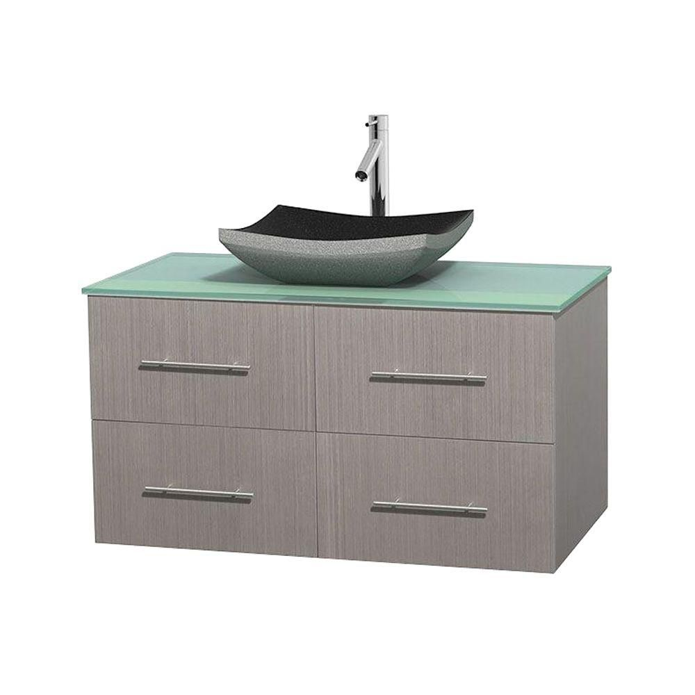 Centra 42-inch W Vanity in Grey Oak with Glass Top with Black Basin