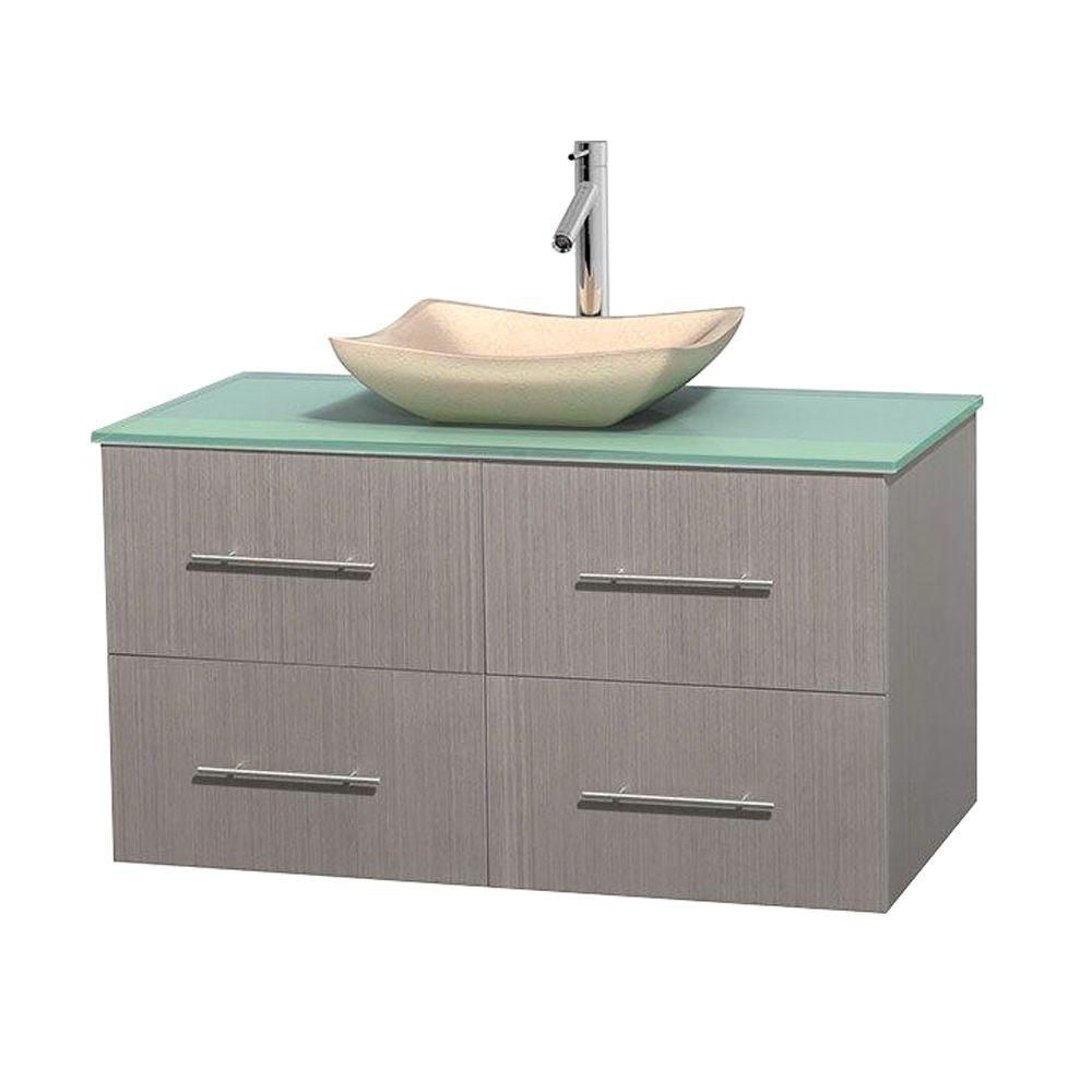 Centra 42-inch W Vanity in Grey Oak with Glass Top with Ivory Basin
