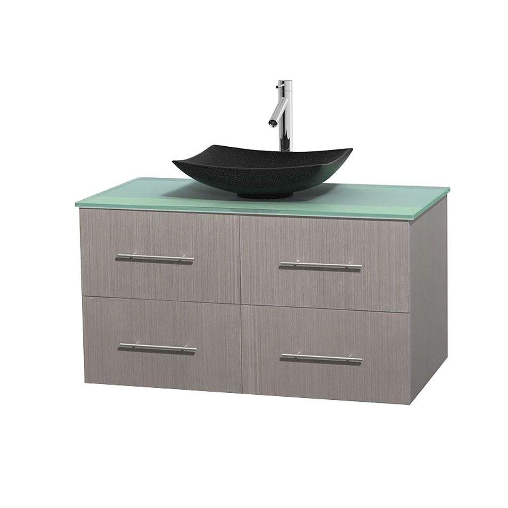 Wyndham Collection Centra 42-inch W 2-Drawer 2-Door Wall Mounted Vanity in Grey With Top in Green