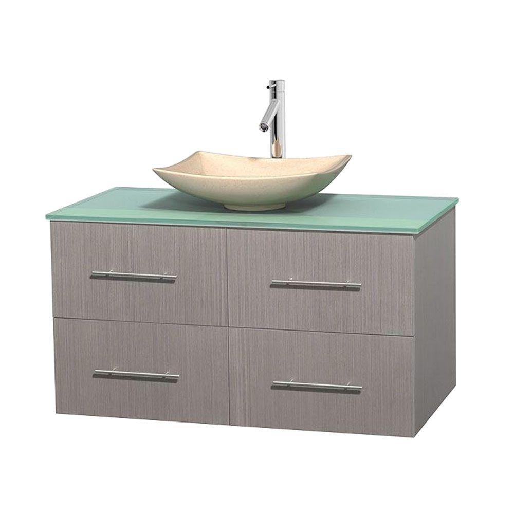 Meuble simple Centra 42 po. chêne gris, comptoir verre vert, lavabo ivoire, sans miroir