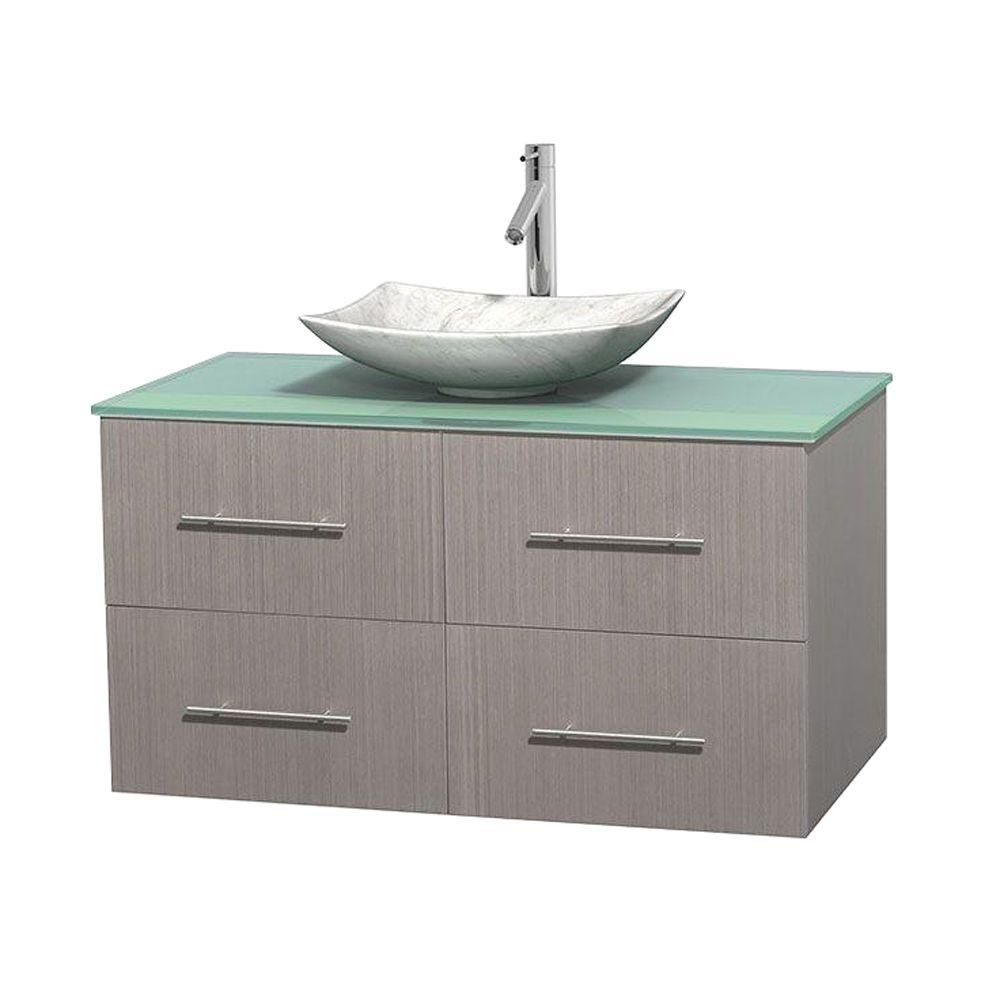 Centra 42-inch W Vanity in Grey Oak with Glass Top with White Basin