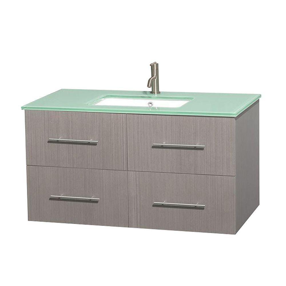 Meuble unique Centra 42 po. chêne gris, comptoir verre vert, lavabo carré sans miroir