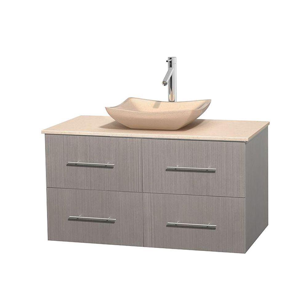 Meuble simple Centra 42 po. chêne gris, comptoir marbre ivoire, lavabo ivoire, sans miroir