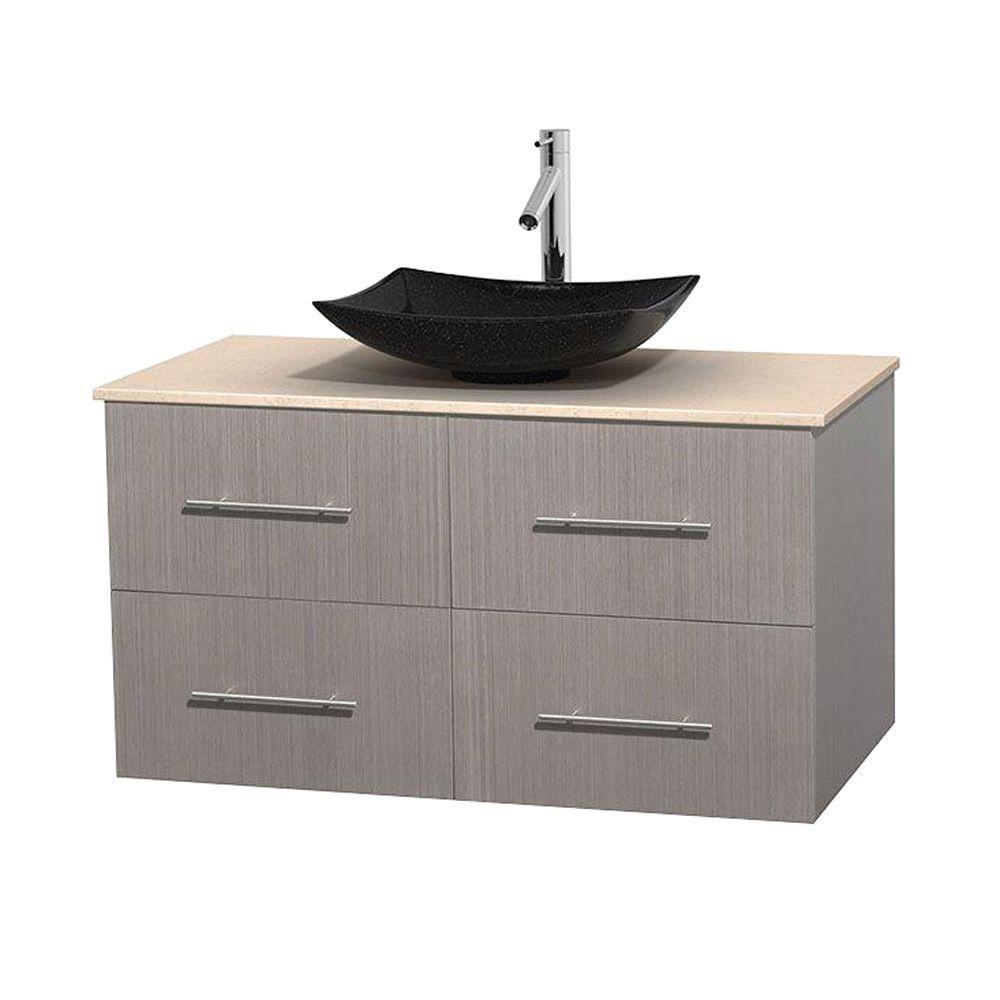 Meuble simple Centra 42 po. chêne gris, comptoir marbre ivoire, lavabo granit noir, sans miroir