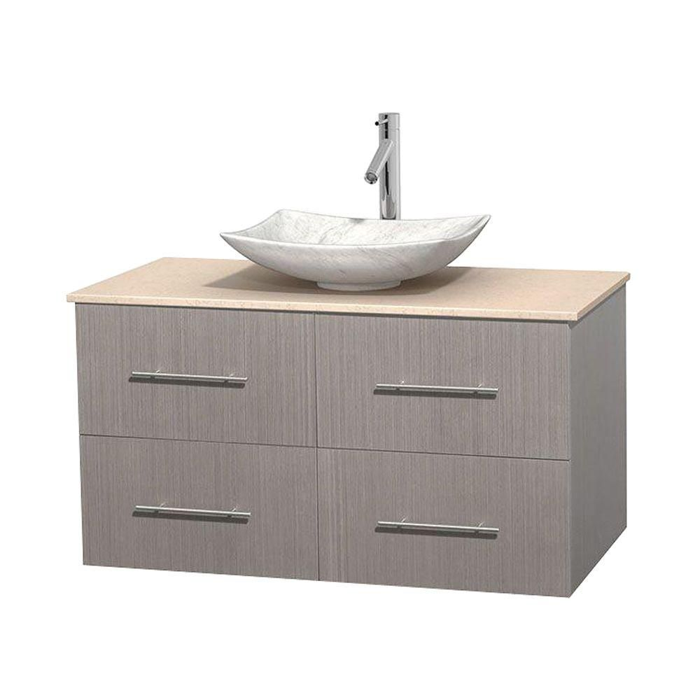 Centra 42-inch W Vanity in Grey Oak with Marble Top in Ivory with White Basin