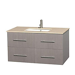 Wyndham Collection Centra 42-inch W 2-Drawer 2-Door Wall Mounted Vanity in Grey With Marble Top in Beige Tan