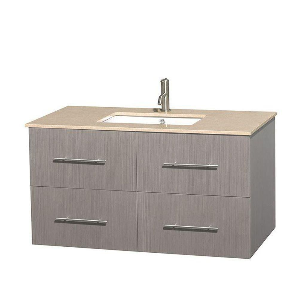 Centra 42-inch W Vanity in Grey Oak with Marble Top in Ivory with Square Basin