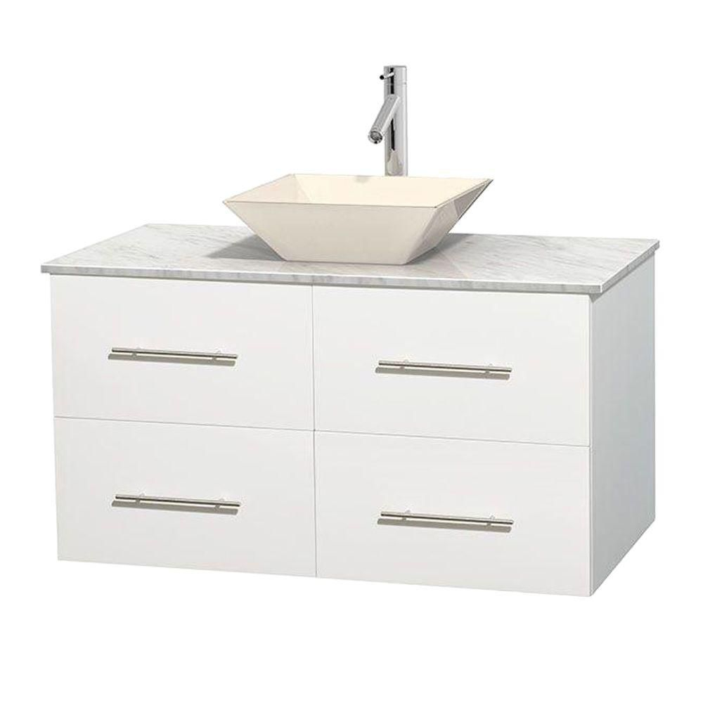 Centra 42-inch W Vanity in White with White Top with Bone Basin