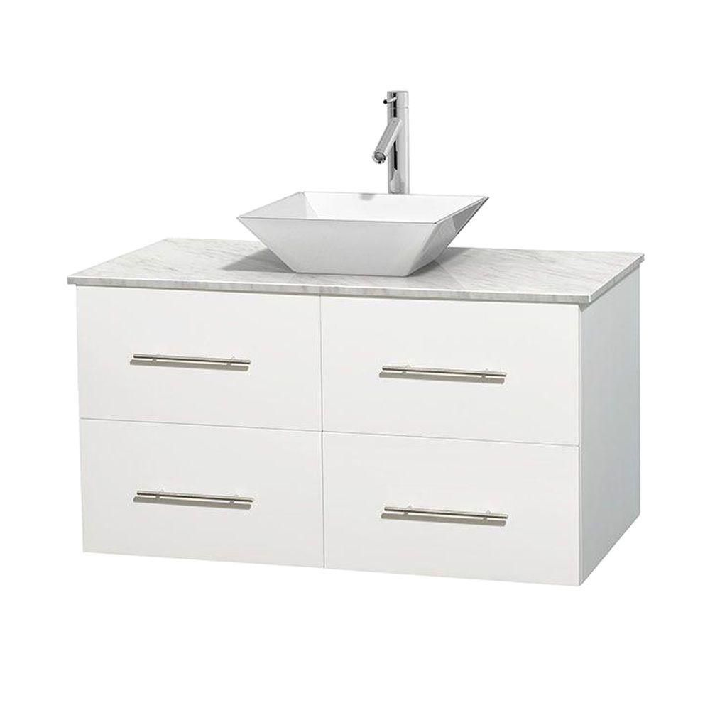 Centra 42-inch W Vanity in White with White Top with White Basin