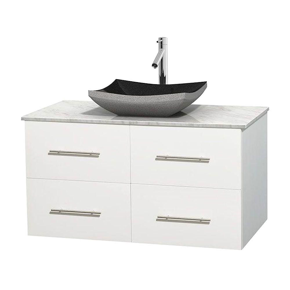 Centra 42-inch W Vanity in White with White Top with Black Basin