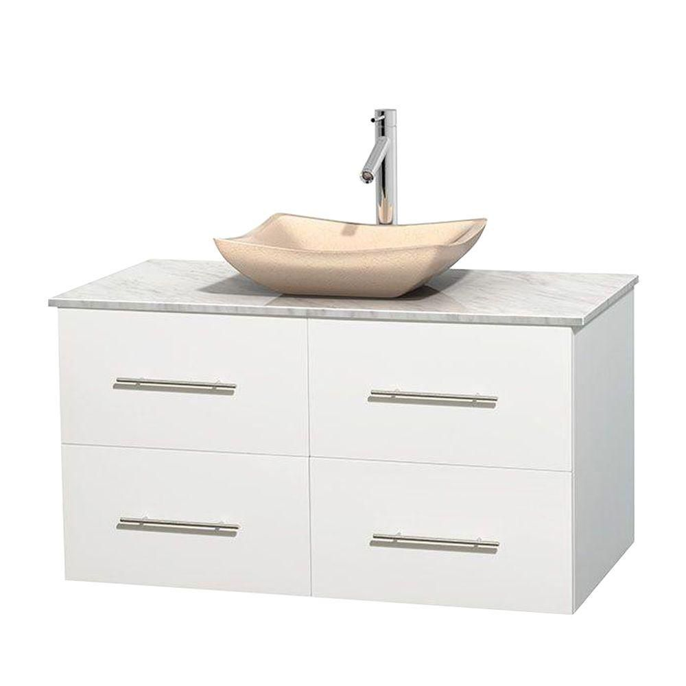 Centra 42-inch W 2-Drawer 2-Door Wall Mounted Vanity in White With Marble Top in White