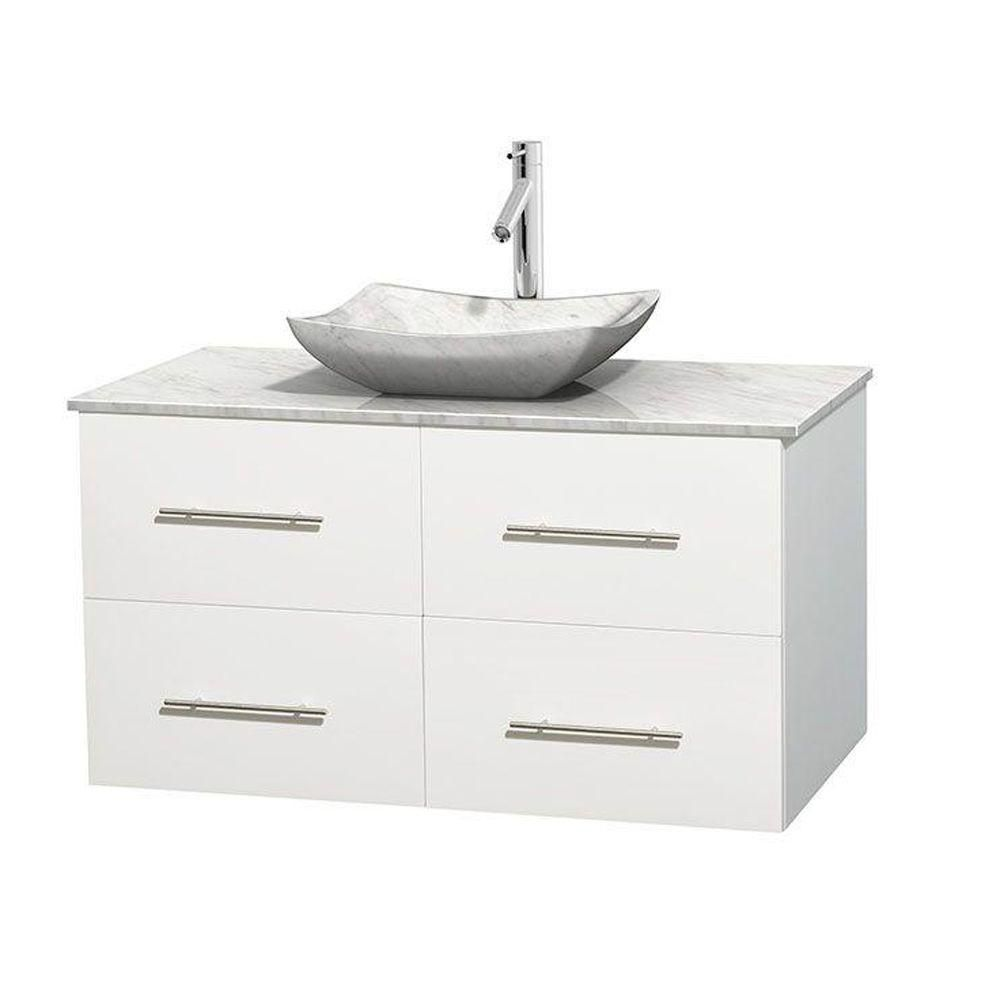 Wyndham Collection Centra 42-inch W 2-Drawer 2-Door Wall Mounted Vanity in White With Marble Top in White