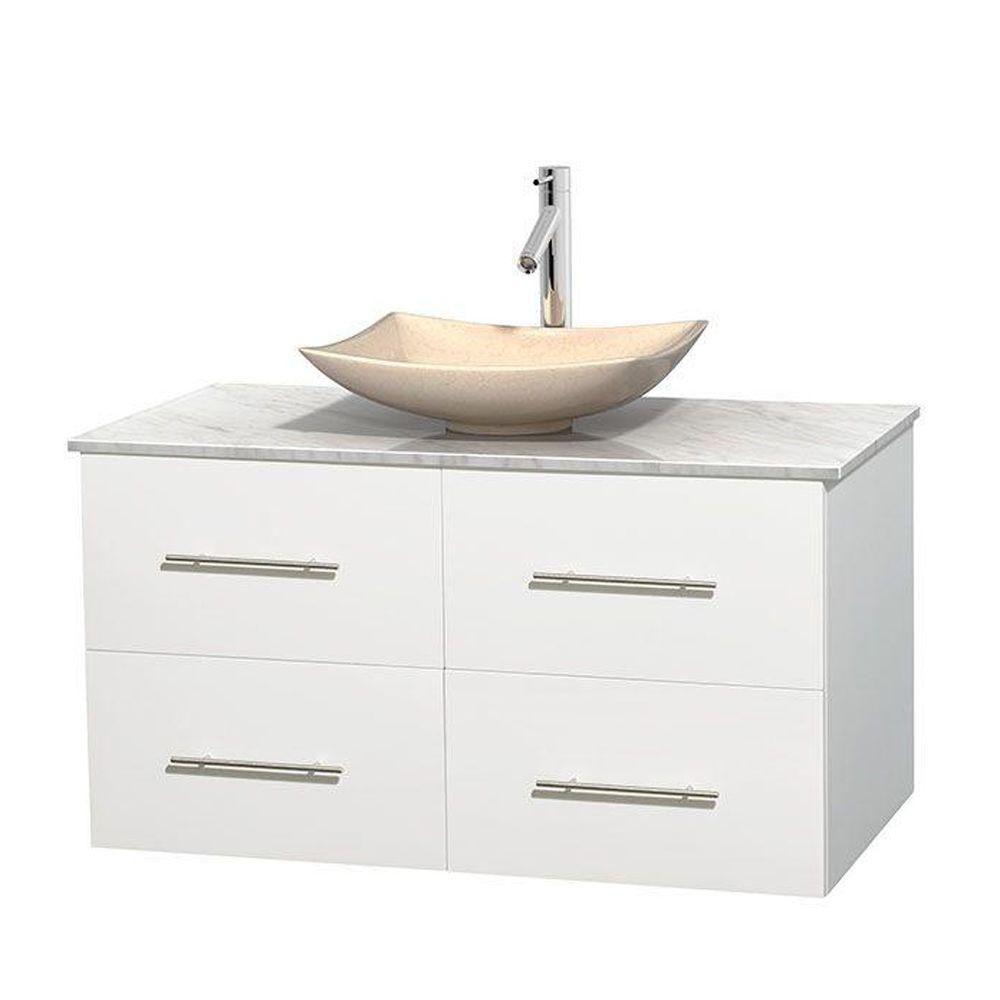Meuble simple Centra 42 po. blanc, comptoir blanc Carrare, lavabo ivoire, sans miroir