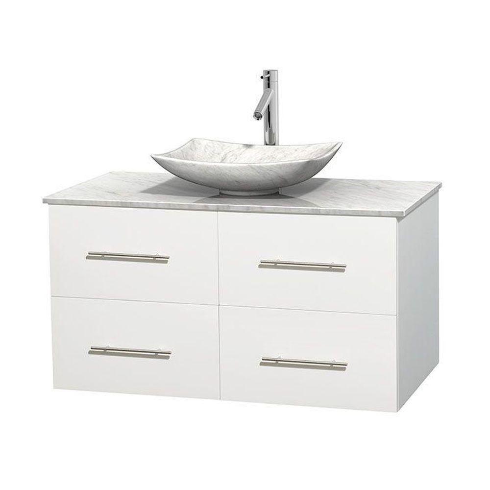 Meuble simple Centra 42 po. blanc, comptoir blanc Carrare, lavabo blanc Carrare, sans miroir