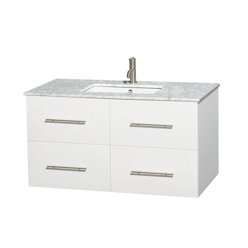 Centra 42-inch W Vanity in White with Top in Carrara White and Square Sink