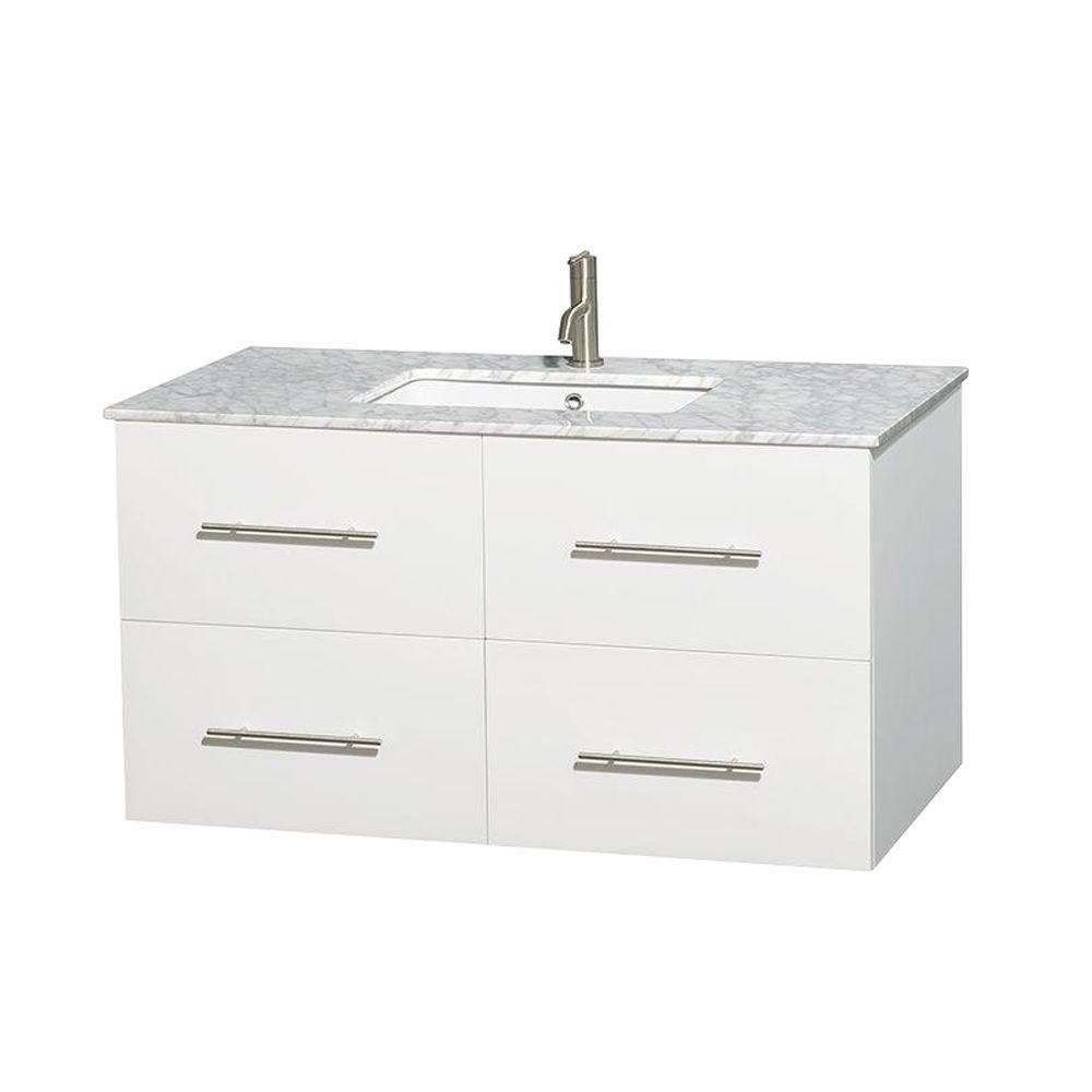 Meuble unique Centra 42 po. blanc, comptoir blanc Carrare, lavabo carré sans miroir
