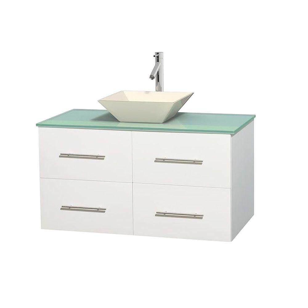 Centra 42-inch W Vanity in White with Glass Top with Bone Basin